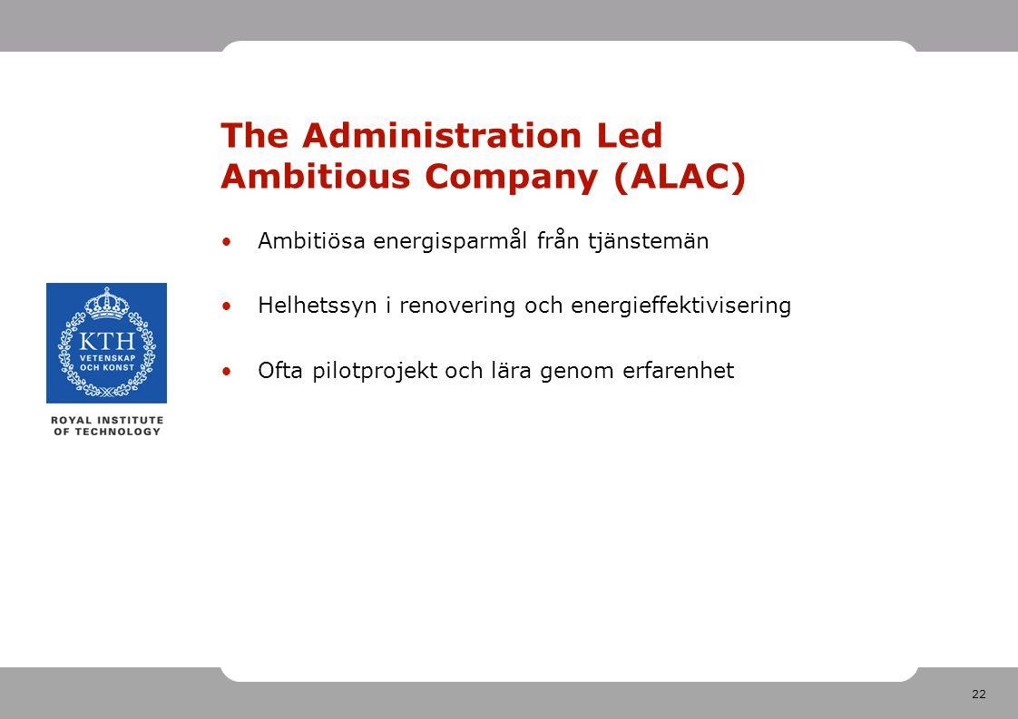 22 The Administration Led Ambitious Company (ALAC) Ambitiösa energisparmål från tjänstemän Helhetssyn i renovering och energieffektivisering Ofta pilotprojekt och lära genom erfarenhet
