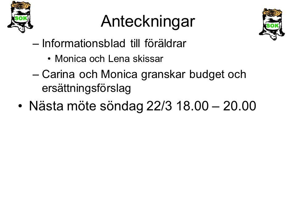 Anteckningar –Informationsblad till föräldrar Monica och Lena skissar –Carina och Monica granskar budget och ersättningsförslag Nästa möte söndag 22/3 18.00 – 20.00