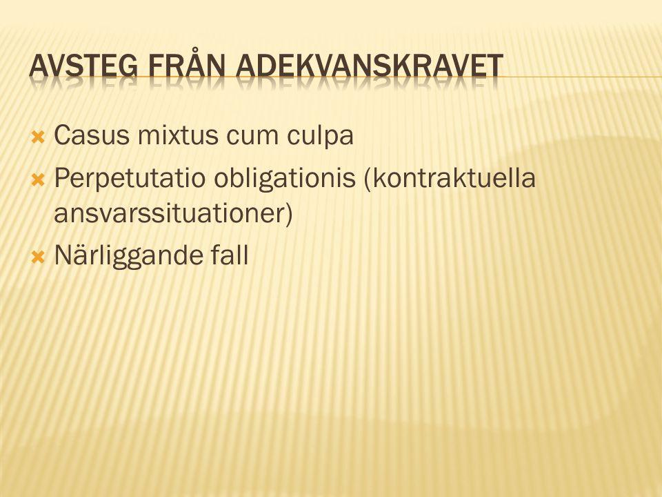  Casus mixtus cum culpa  Perpetutatio obligationis (kontraktuella ansvarssituationer)  Närliggande fall