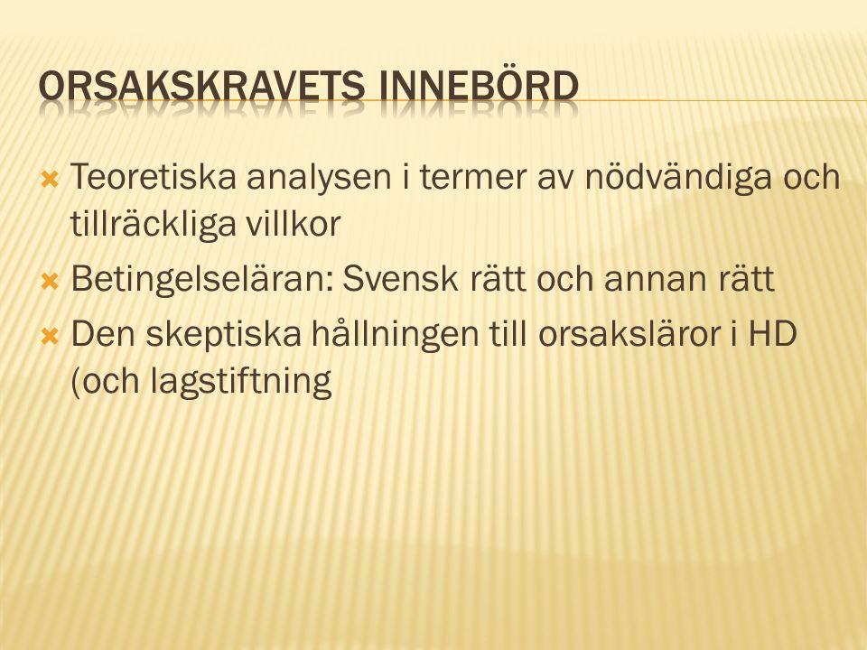  Teoretiska analysen i termer av nödvändiga och tillräckliga villkor  Betingelseläran: Svensk rätt och annan rätt  Den skeptiska hållningen till orsaksläror i HD (och lagstiftning