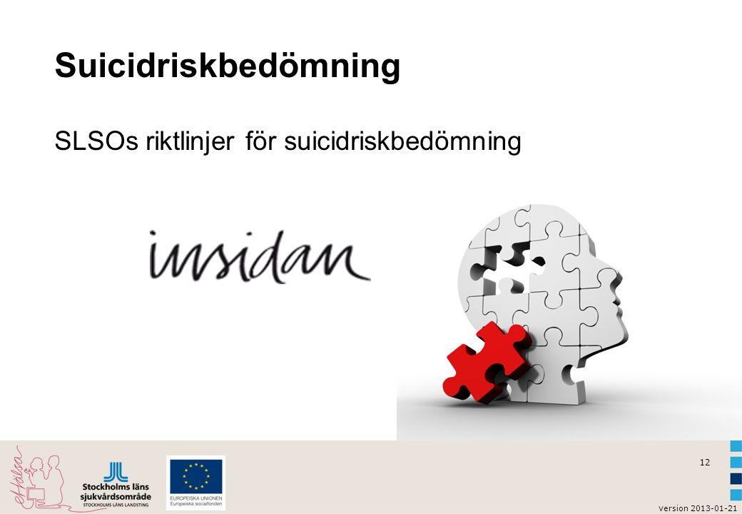 12 v ersion 2013-01-21 Suicidriskbedömning SLSOs riktlinjer för suicidriskbedömning