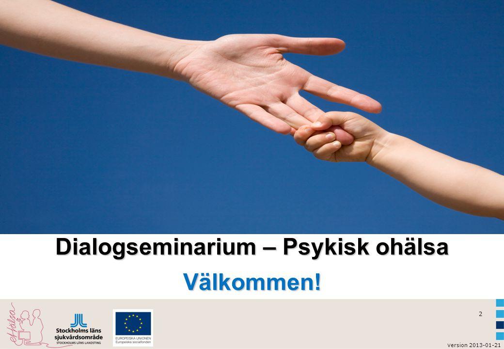 3 v ersion 2013-01-21 Dagens agenda  Vad är psykisk ohälsa.