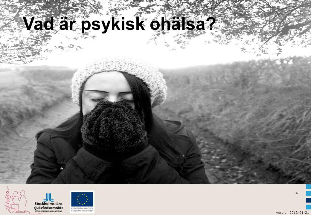 4 v ersion 2013-01-21 Vad är psykisk ohälsa?