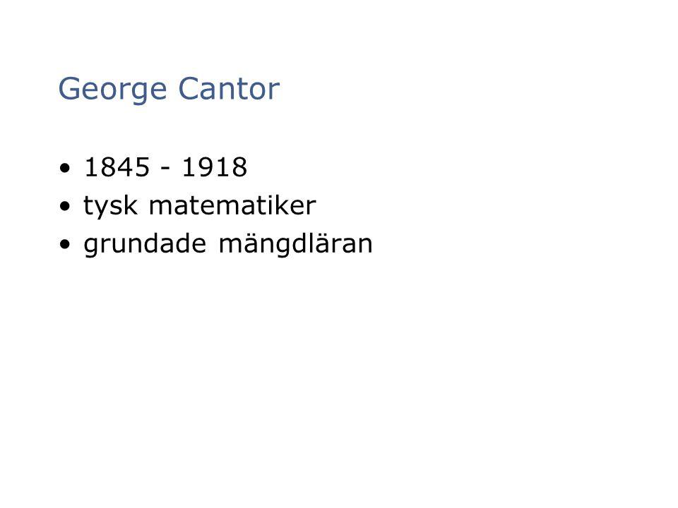 George Cantor 1845 - 1918 tysk matematiker grundade mängdläran