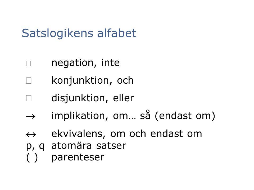 Satslogikens alfabet  negation, inte konjunktion, och disjunktion, eller implikation, om… så (endast om) ekvivalens, om och endast om p, qatomära