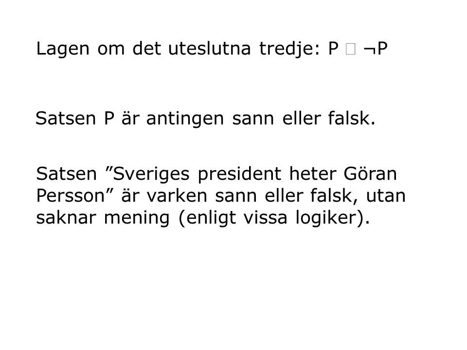 """Satsen """"Sveriges president heter Göran Persson"""" är varken sann eller falsk, utan saknar mening (enligt vissa logiker). Lagen om det uteslutna tredje:"""