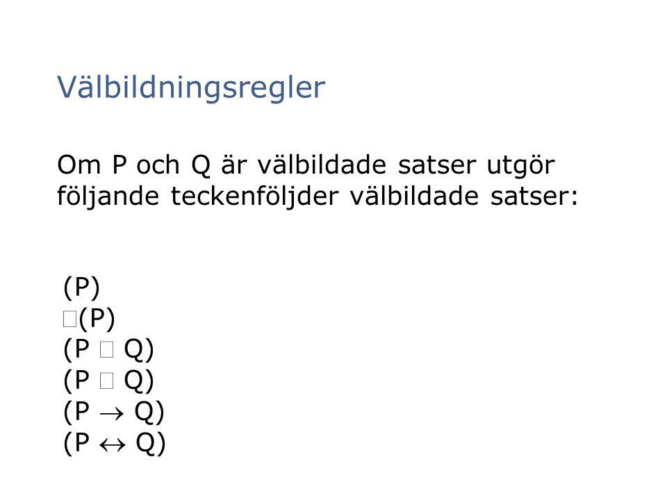 Välbildningsregler Om P och Q är välbildade satser utgör följande teckenföljder välbildade satser: (P) (P) (P  Q) (P  Q) (P  Q) (P  Q)