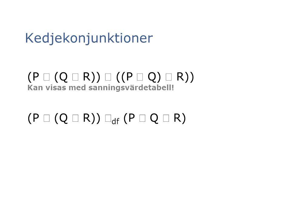 Kedjekonjunktioner (P  (Q  R))  ((P  Q)  R)) Kan visas med sanningsvärdetabell! (P  (Q  R))  df (P  Q  R)