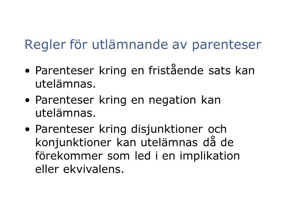 Regler för utlämnande av parenteser Parenteser kring en fristående sats kan utelämnas. Parenteser kring en negation kan utelämnas. Parenteser kring di