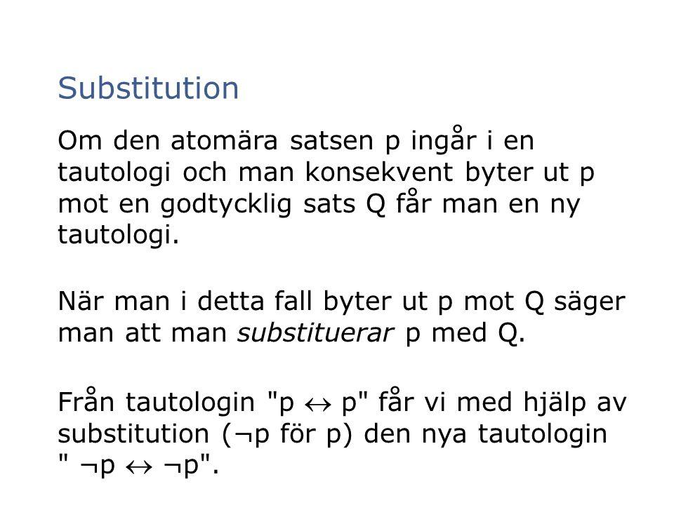 Om den atomära satsen p ingår i en tautologi och man konsekvent byter ut p mot en godtycklig sats Q får man en ny tautologi. När man i detta fall byte