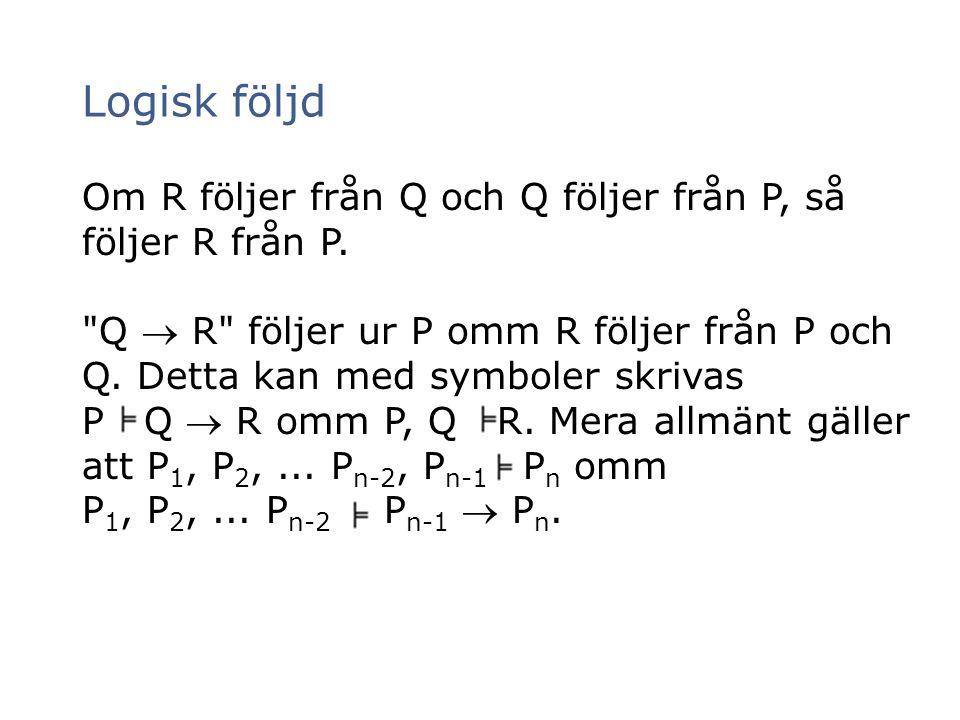 Om R följer från Q och Q följer från P, så följer R från P.