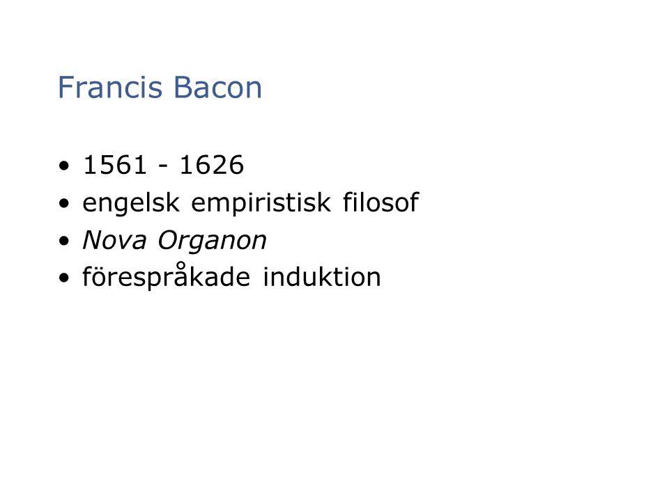 Francis Bacon 1561 - 1626 engelsk empiristisk filosof Nova Organon förespråkade induktion