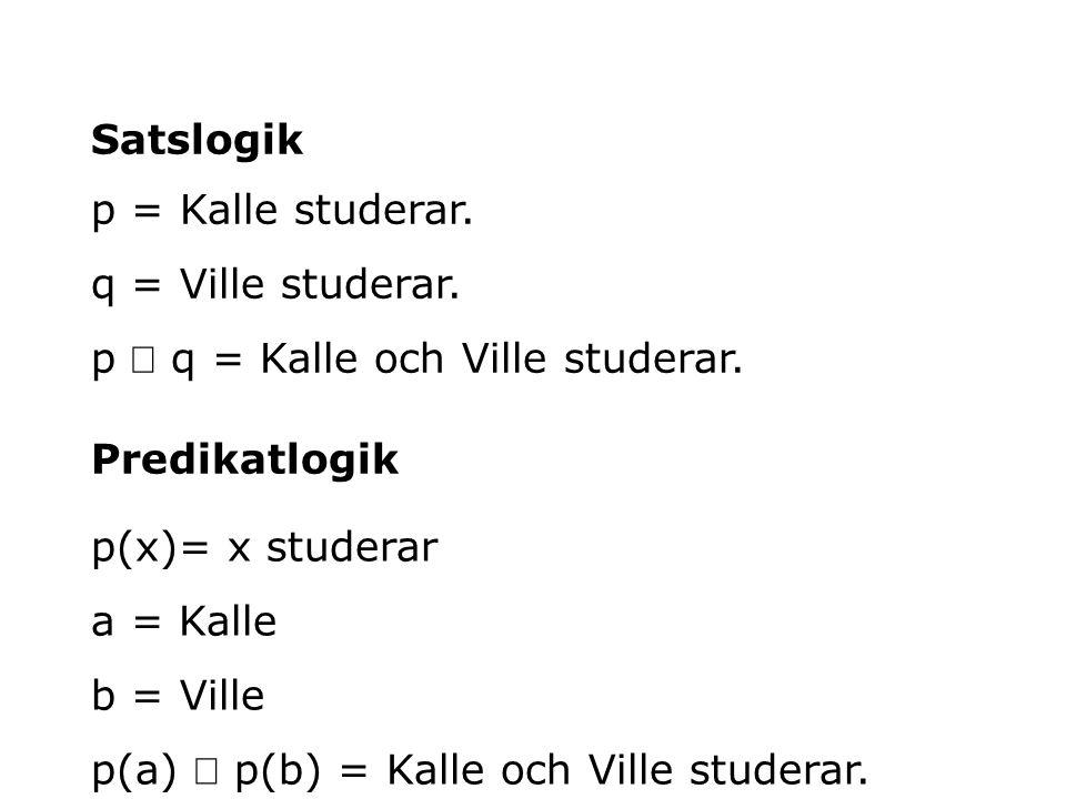 p = Kalle studerar. q = Ville studerar. p  q = Kalle och Ville studerar. Satslogik Predikatlogik p(x)= x studerar a = Kalle b = Ville p(a)  p(b) = K