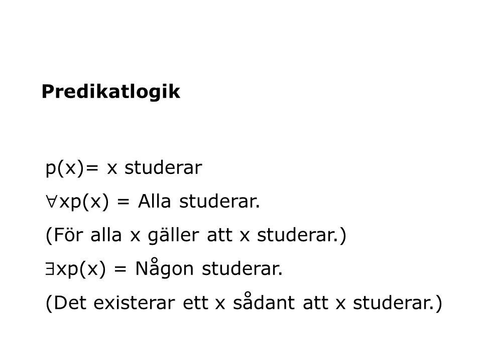 Predikatlogik p(x)= x studerar xp(x) = Alla studerar. (För alla x gäller att x studerar.) xp(x) = Någon studerar. (Det existerar ett x sådant att x