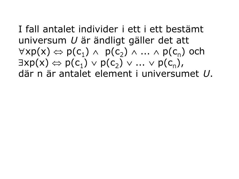 I fall antalet individer i ett i ett bestämt universum U är ändligt gäller det att xp(x)  p(c 1 )  p(c 2 ) ...  p(c n ) och xp(x)  p(c 1 )  p(