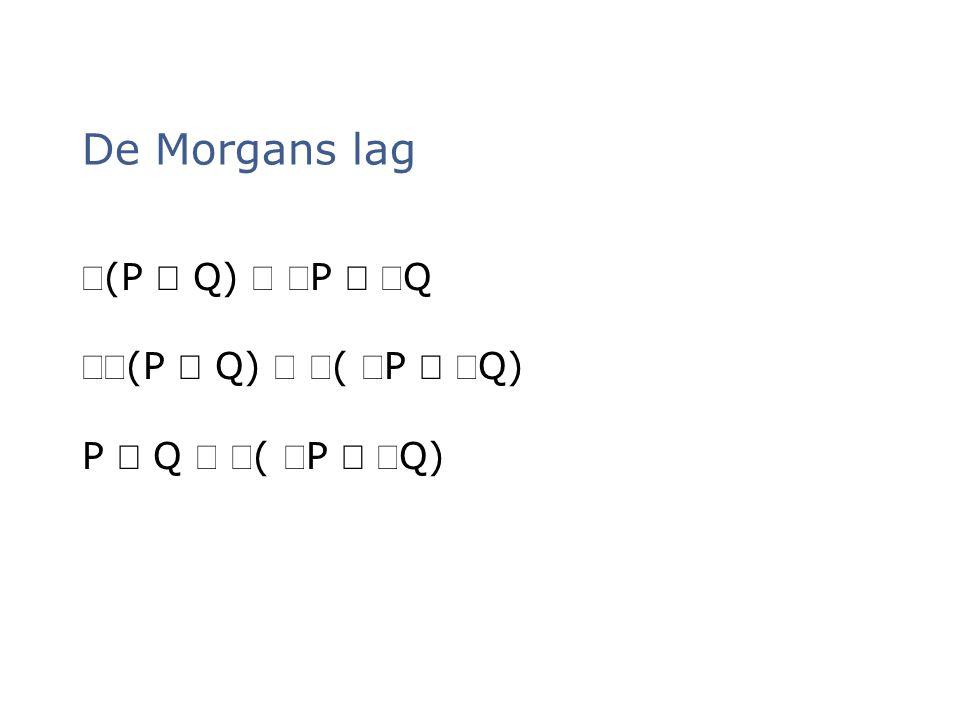 (P  Q)  P  Q (P  Q)  ( P  Q) P  Q  ( P  Q) De Morgans lag