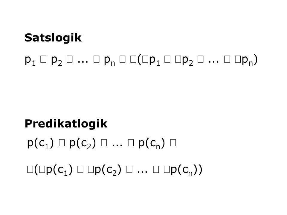 p 1  p 2 ...  p n  (p 1  p 2 ...  p n ) Satslogik Predikatlogik p(c 1 )  p(c 2 ) ...  p(c n )  (p(c 1 )  p(c 2 ) ...  p(c n ))