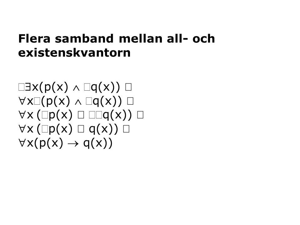x(p(x)  q(x))  x(p(x)  q(x))  x(p(x)  q(x))  x(p(x)  q(x))  x(p(x)  q(x)) Flera samband mellan all- och existenskvantorn