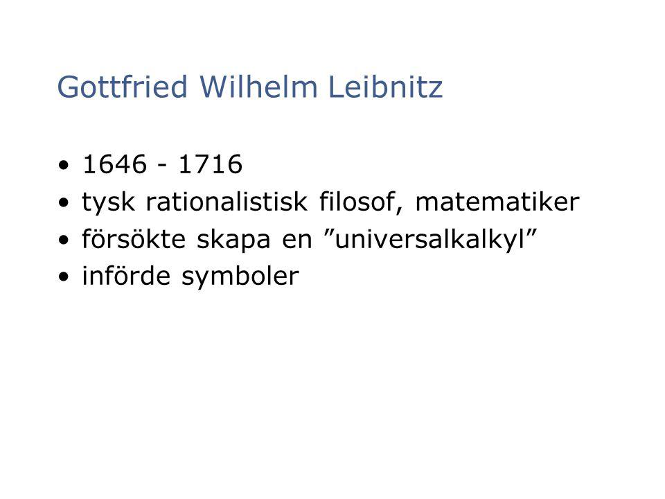 """Gottfried Wilhelm Leibnitz 1646 - 1716 tysk rationalistisk filosof, matematiker försökte skapa en """"universalkalkyl"""" införde symboler"""