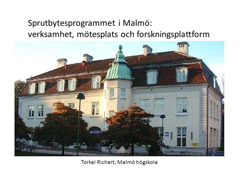 Sprutbytesprogrammet i Malmö: verksamhet, mötesplats och forskningsplattform Torkel Richert, Malmö högskola