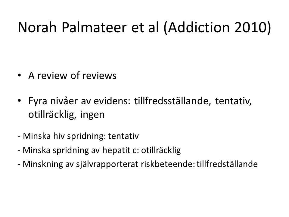 Norah Palmateer et al (Addiction 2010) A review of reviews Fyra nivåer av evidens: tillfredsställande, tentativ, otillräcklig, ingen - Minska hiv spridning: tentativ - Minska spridning av hepatit c: otillräcklig - Minskning av självrapporterat riskbeteende: tillfredställande