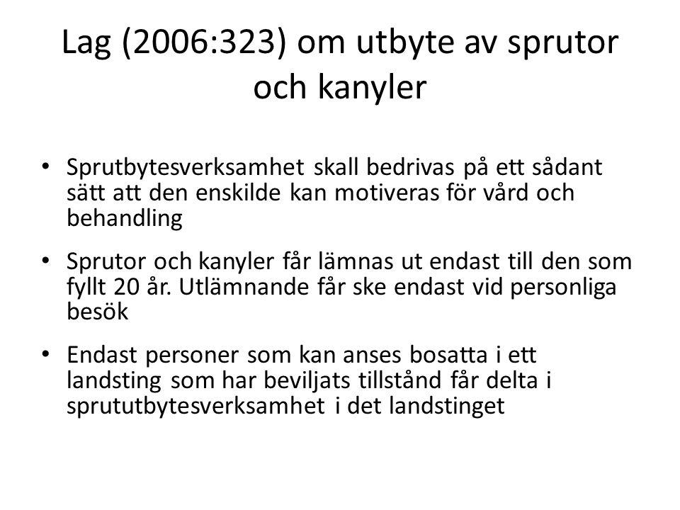Lag (2006:323) om utbyte av sprutor och kanyler Sprutbytesverksamhet skall bedrivas på ett sådant sätt att den enskilde kan motiveras för vård och beh