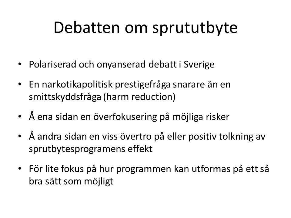 Debatten om sprututbyte Polariserad och onyanserad debatt i Sverige En narkotikapolitisk prestigefråga snarare än en smittskyddsfråga (harm reduction)