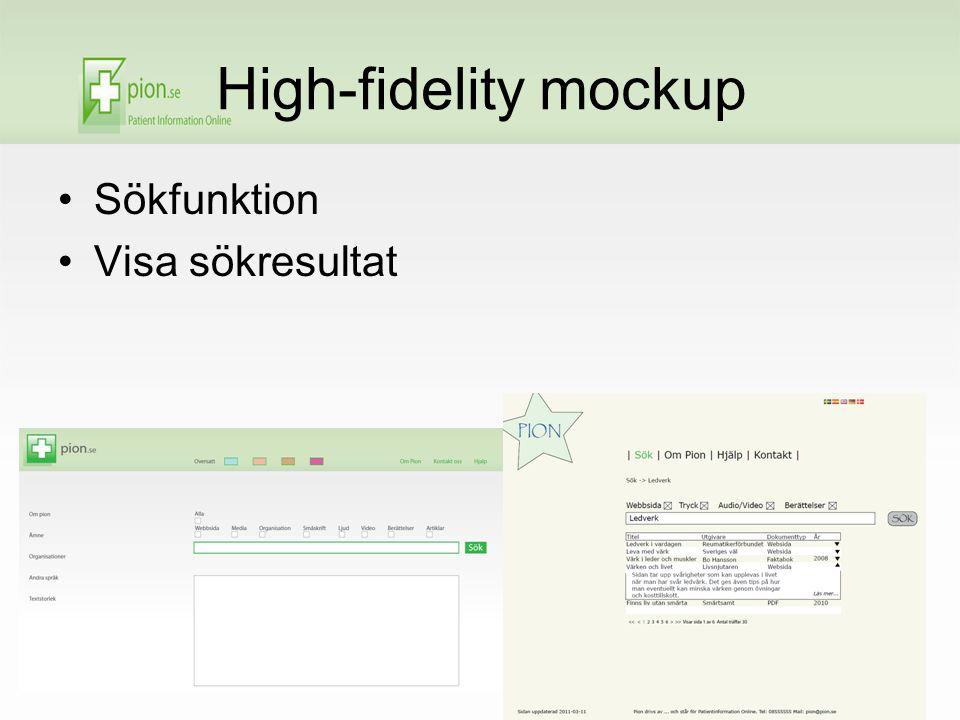 High-fidelity mockup Sökfunktion Visa sökresultat