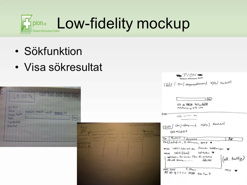 Low-fidelity mockup Sökfunktion Visa sökresultat