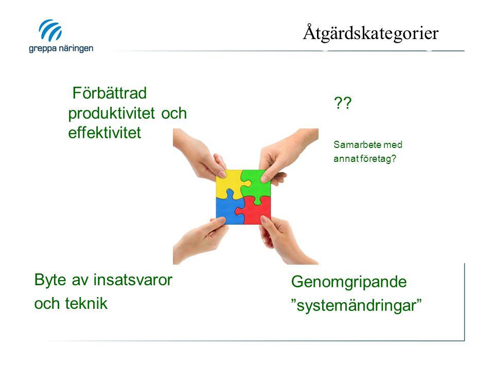 """Tre kategorier av åtgärder Förbättrad produktivitet och effektivitet Byte av insatsvaror och teknik Genomgripande """"systemändringar"""" ?? Samarbete med a"""