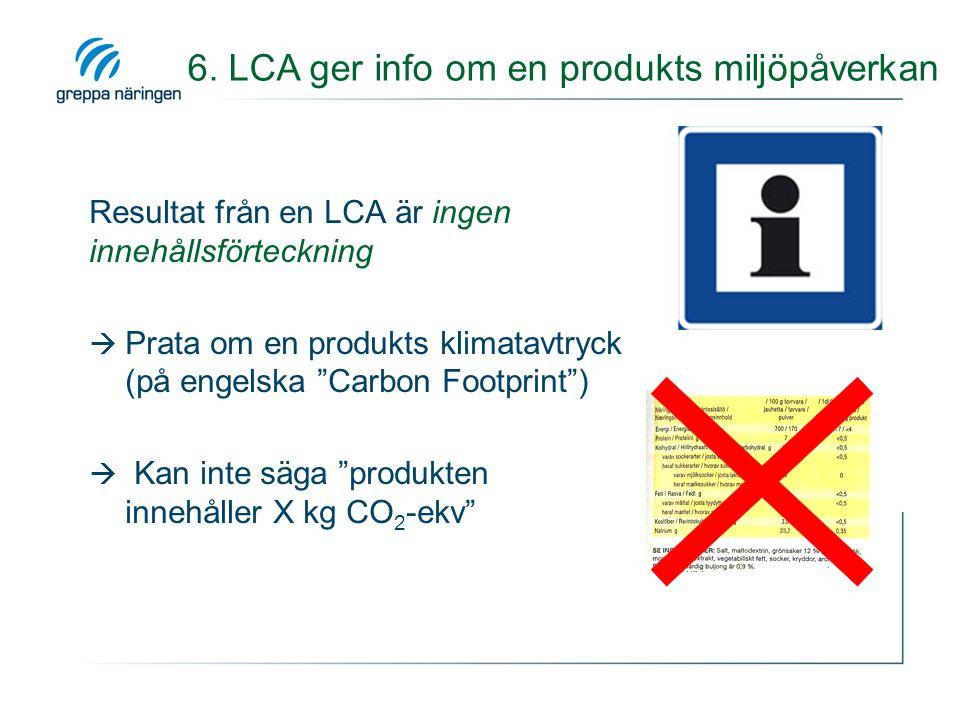 """Resultat från en LCA är ingen innehållsförteckning  Prata om en produkts klimatavtryck (på engelska """"Carbon Footprint"""")  Kan inte säga """"produkten in"""