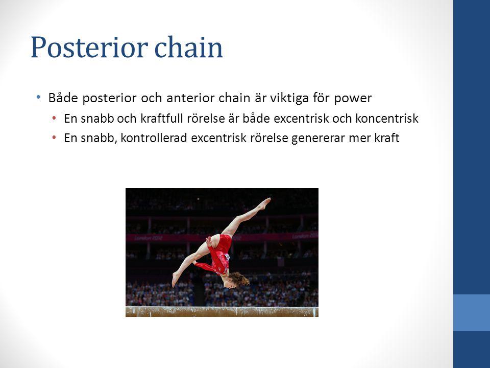 Både posterior och anterior chain är viktiga för power En snabb och kraftfull rörelse är både excentrisk och koncentrisk En snabb, kontrollerad excent
