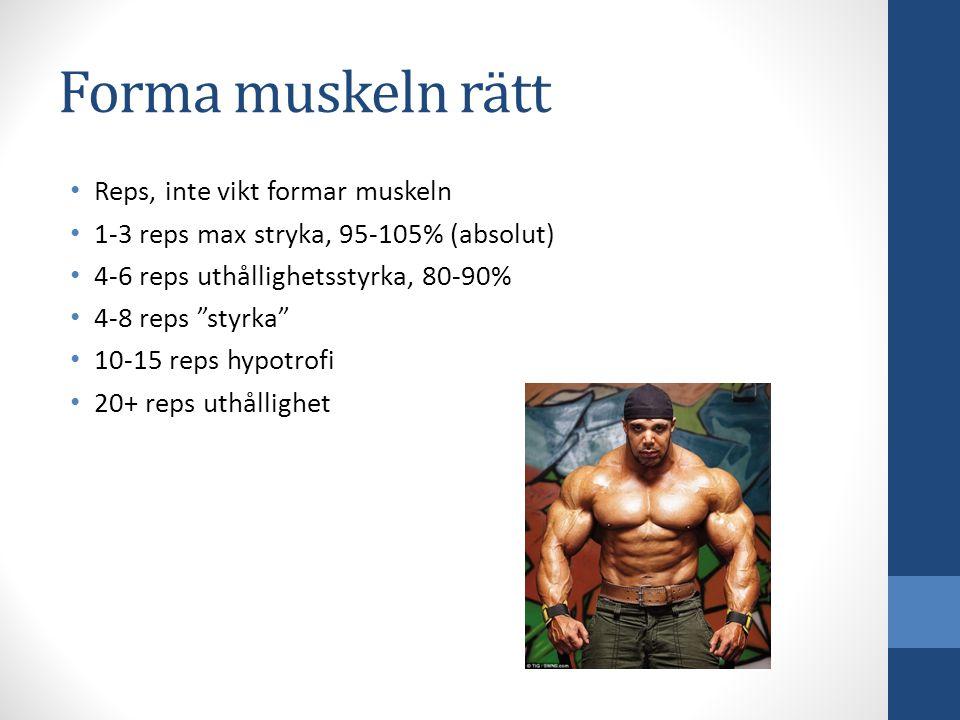 """Forma muskeln rätt Reps, inte vikt formar muskeln 1-3 reps max stryka, 95-105% (absolut) 4-6 reps uthållighetsstyrka, 80-90% 4-8 reps """"styrka"""" 10-15 r"""