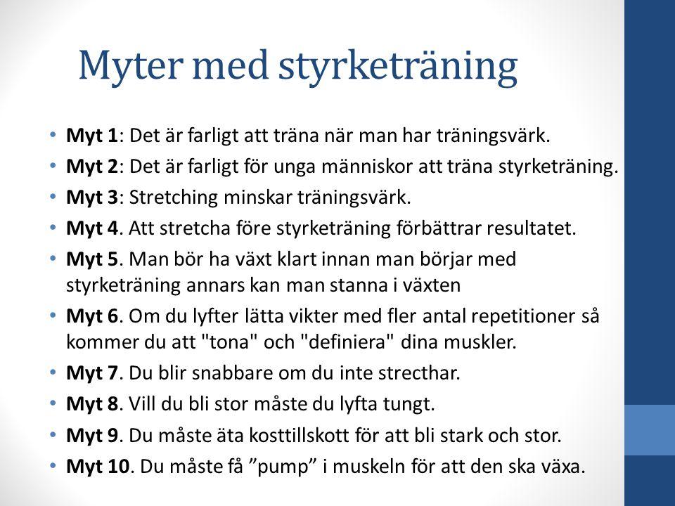 Myter med styrketräning Myt 1: Det är farligt att träna när man har träningsvärk. Myt 2: Det är farligt för unga människor att träna styrketräning. My