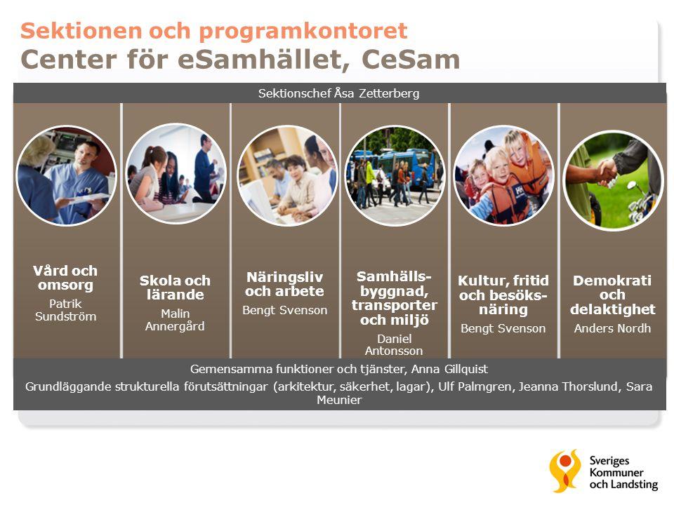 Sektionen och programkontoret Center för eSamhället, CeSam Vård och omsorg Patrik Sundström Skola och lärande Malin Annergård Näringsliv och arbete Be