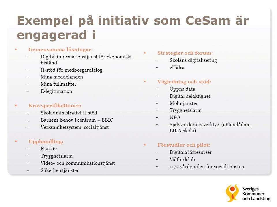 Exempel på initiativ som CeSam är engagerad i  Gemensamma lösningar: - Digital informationstjänst för ekonomiskt bistånd - It-stöd för medborgardialo