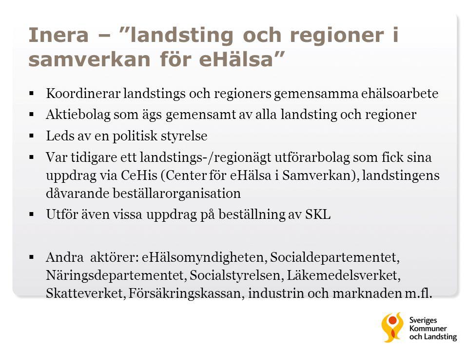 """Inera – """"landsting och regioner i samverkan för eHälsa""""  Koordinerar landstings och regioners gemensamma ehälsoarbete  Aktiebolag som ägs gemensamt"""