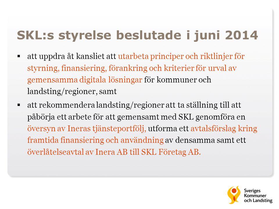 SKL:s styrelse beslutade i juni 2014  att uppdra åt kansliet att utarbeta principer och riktlinjer för styrning, finansiering, förankring och kriteri