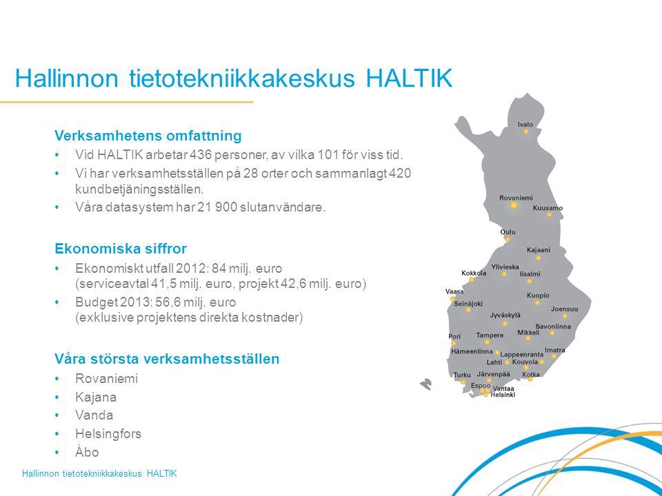 Hallinnon tietotekniikkakeskus HALTIK Verksamhetens omfattning Vid HALTIK arbetar 436 personer, av vilka 101 för viss tid.