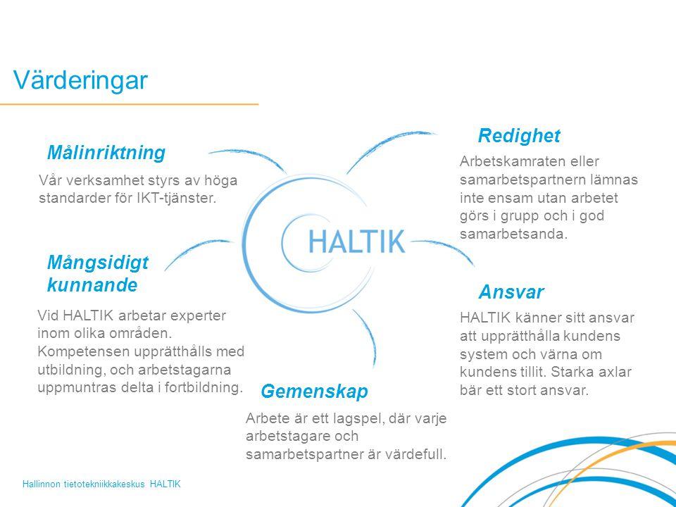 Värderingar Hallinnon tietotekniikkakeskus HALTIK Arbetskamraten eller samarbetspartnern lämnas inte ensam utan arbetet görs i grupp och i god samarbetsanda.