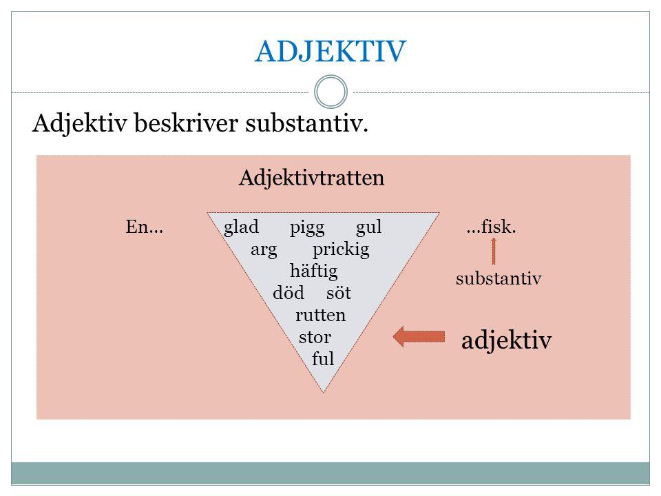 ADJEKTIV Adjektiv beskriver substantiv. Adjektivtratten En……fisk.gladpigggul arg prickig häftig död söt rutten stor ful substantiv adjektiv