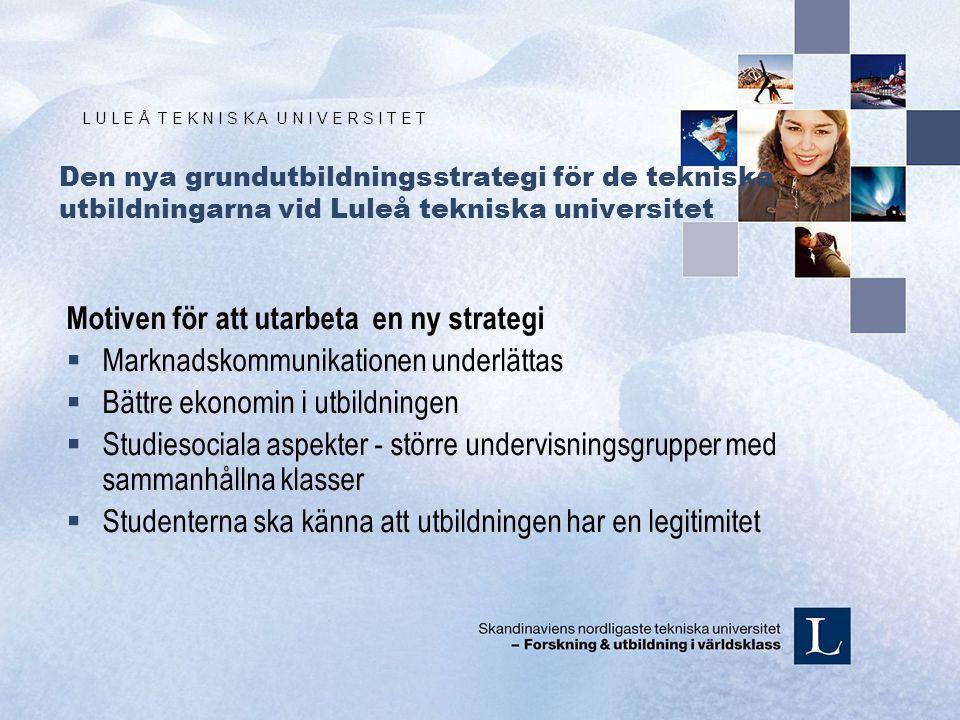 L U L E Å T E K N I S K A U N I V E R S I T E T Den nya grundutbildningsstrategi för de tekniska utbildningarna vid Luleå tekniska universitet Motiven