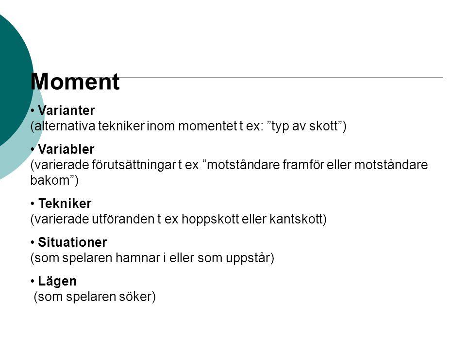 Moment Varianter (alternativa tekniker inom momentet t ex: typ av skott ) Variabler (varierade förutsättningar t ex motståndare framför eller motståndare bakom ) Tekniker (varierade utföranden t ex hoppskott eller kantskott) Situationer (som spelaren hamnar i eller som uppstår) Lägen (som spelaren söker)