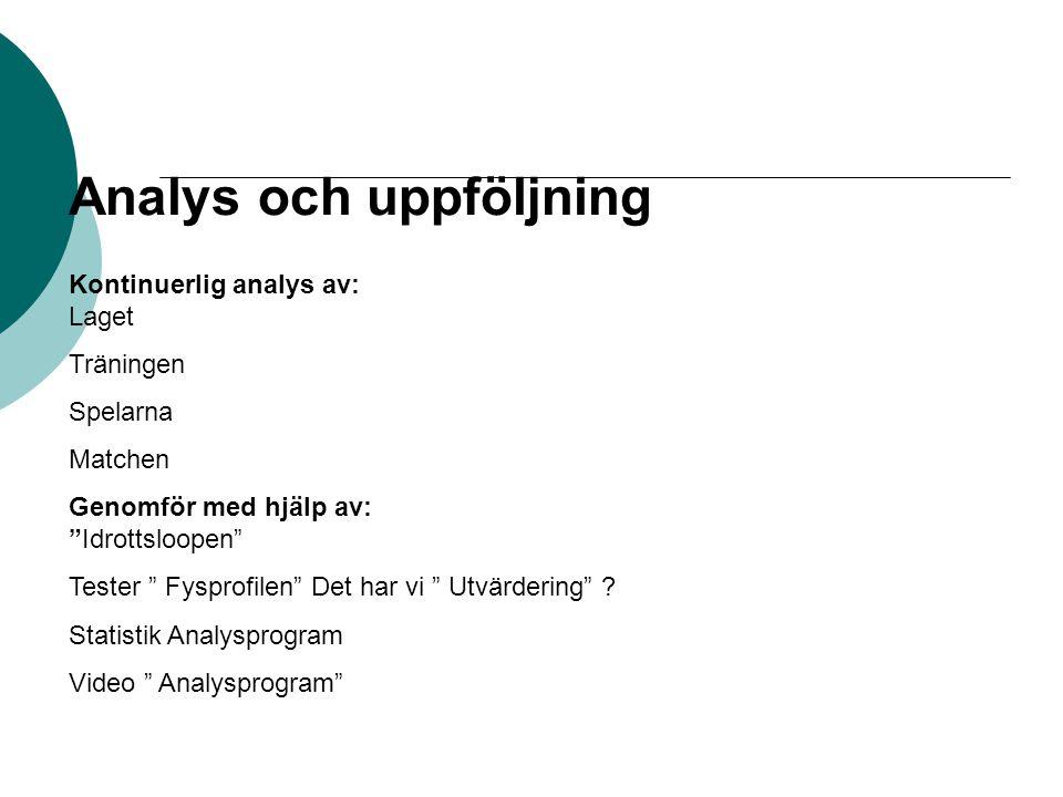 Analys och uppföljning Kontinuerlig analys av: Laget Träningen Spelarna Matchen Genomför med hjälp av: Idrottsloopen Tester Fysprofilen Det har vi Utvärdering .