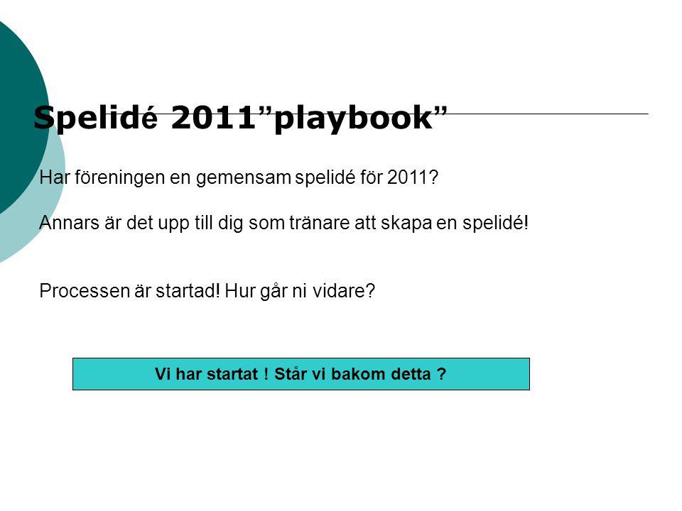 """Spelid é 2011 """" playbook """" Har föreningen en gemensam spelidé för 2011? Annars är det upp till dig som tränare att skapa en spelidé! Processen är star"""