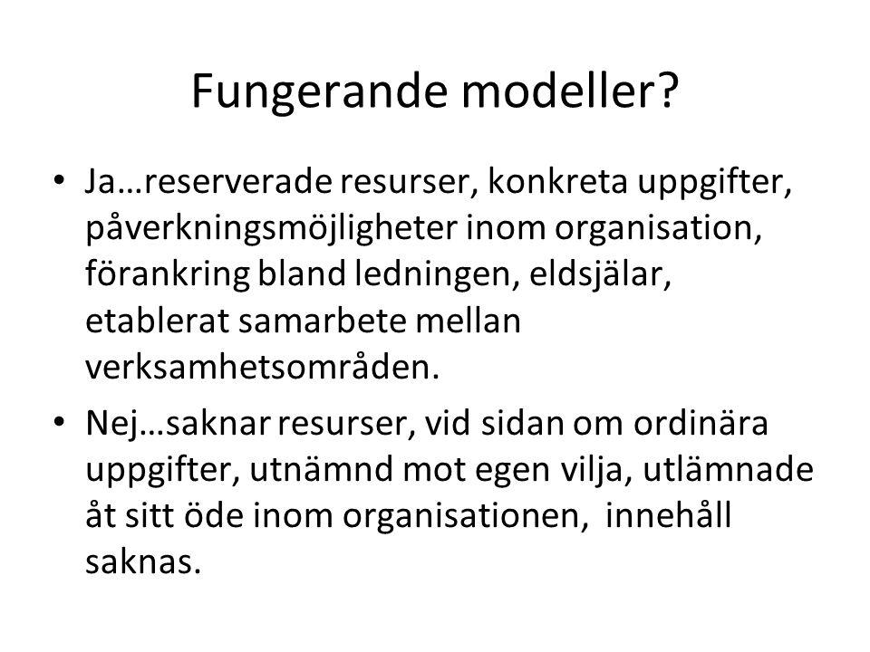 Fungerande modeller? Ja…reserverade resurser, konkreta uppgifter, påverkningsmöjligheter inom organisation, förankring bland ledningen, eldsjälar, eta