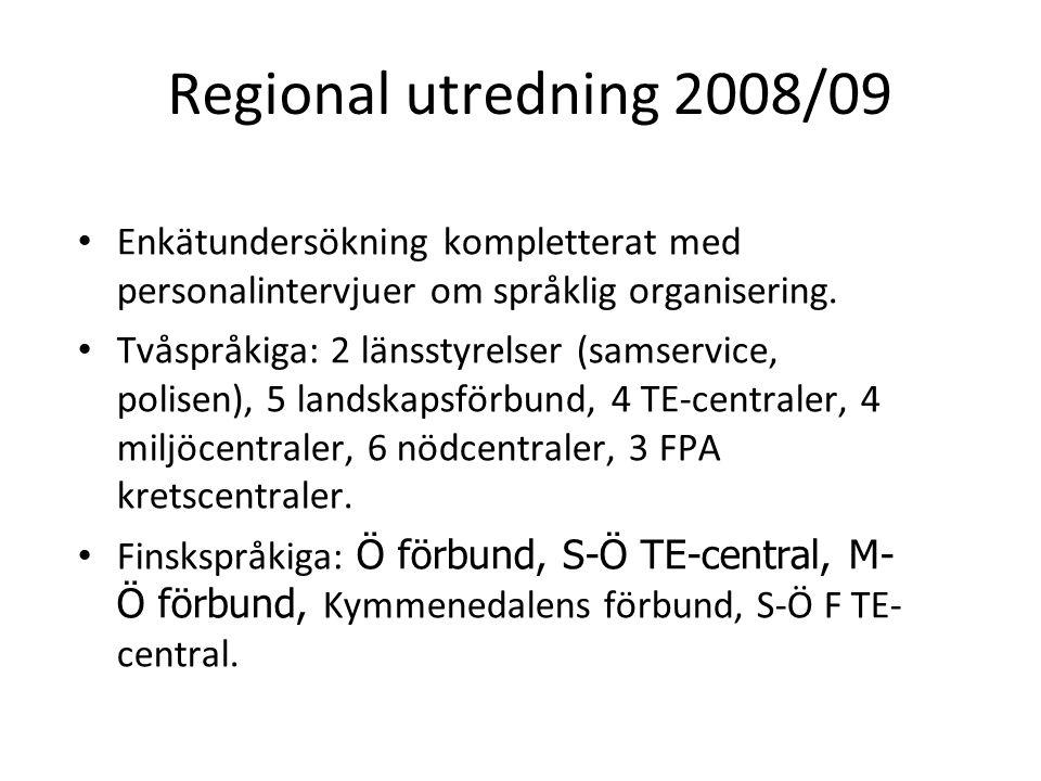 Regional utredning 2008/09 Enkätundersökning kompletterat med personalintervjuer om språklig organisering. Tvåspråkiga: 2 länsstyrelser (samservice, p