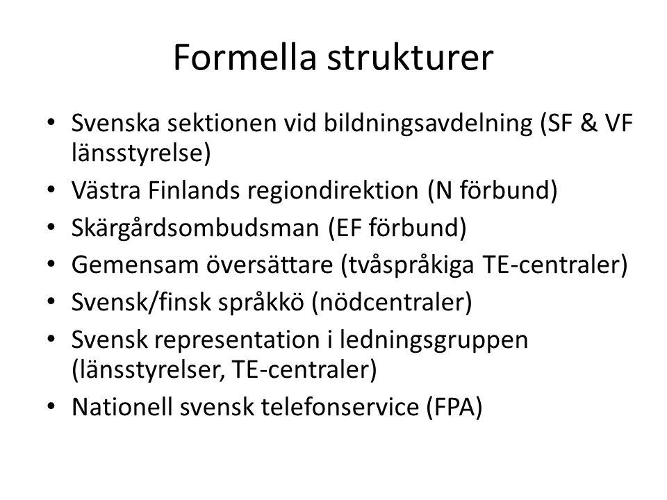 Formella strukturer Svenska sektionen vid bildningsavdelning (SF & VF länsstyrelse) Västra Finlands regiondirektion (N förbund) Skärgårdsombudsman (EF