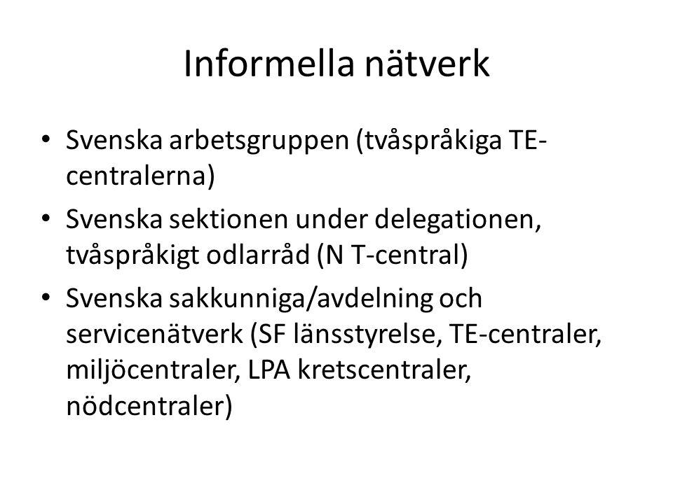 Informella nätverk Svenska arbetsgruppen (tvåspråkiga TE- centralerna) Svenska sektionen under delegationen, tvåspråkigt odlarråd (N T-central) Svenska sakkunniga/avdelning och servicenätverk (SF länsstyrelse, TE-centraler, miljöcentraler, LPA kretscentraler, nödcentraler)