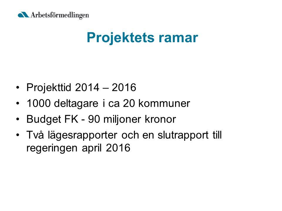 Projekttid 2014 – 2016 1000 deltagare i ca 20 kommuner Budget FK - 90 miljoner kronor Två lägesrapporter och en slutrapport till regeringen april 2016
